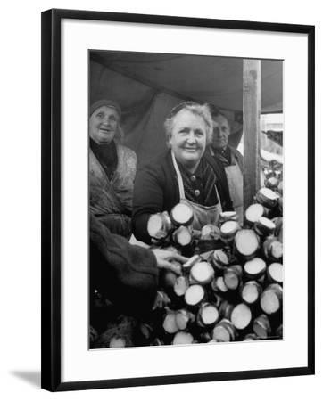 Woman Selling Vegetables at an Open Air Market Stall-Nina Leen-Framed Photographic Print