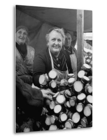 Woman Selling Vegetables at an Open Air Market Stall-Nina Leen-Metal Print