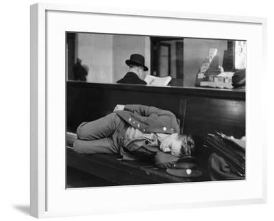 Soldier Sleeping on Bench in Waiting Room at Pennsylvania Station-Alfred Eisenstaedt-Framed Photographic Print
