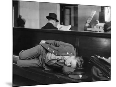 Soldier Sleeping on Bench in Waiting Room at Pennsylvania Station-Alfred Eisenstaedt-Mounted Photographic Print