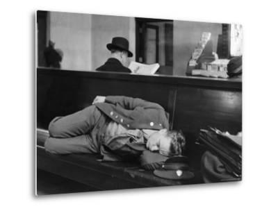 Soldier Sleeping on Bench in Waiting Room at Pennsylvania Station-Alfred Eisenstaedt-Metal Print