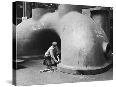 Workman at General Electric Plant-Alfred Eisenstaedt-Stretched Canvas Print