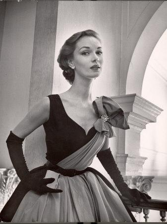 Woman Modeling a Short Ball Gown-Nina Leen-Framed Photographic Print
