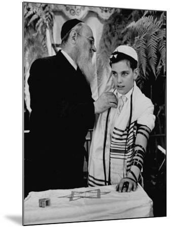 Rabbi David S. Novoseller Adjusting Carl Jay Bodek's Robe During Ceremony-Lisa Larsen-Mounted Photographic Print
