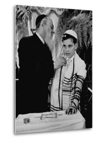Rabbi David S. Novoseller Adjusting Carl Jay Bodek's Robe During Ceremony-Lisa Larsen-Metal Print