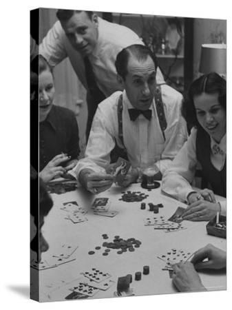 Poker Game Being Played with Pennies Instead of Chips-Nina Leen-Stretched Canvas Print