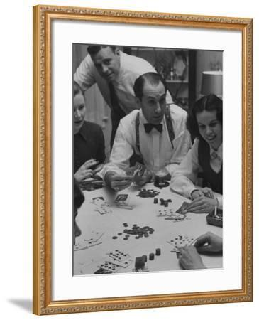 Poker Game Being Played with Pennies Instead of Chips-Nina Leen-Framed Photographic Print