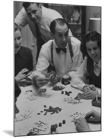 Poker Game Being Played with Pennies Instead of Chips-Nina Leen-Mounted Photographic Print