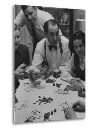 Poker Game Being Played with Pennies Instead of Chips-Nina Leen-Metal Print