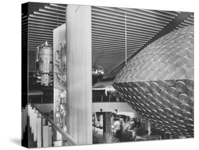 Russian Pavilion with Satellite Models and Saucer Like Space Theatre-Michael Rougier-Stretched Canvas Print