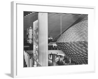 Russian Pavilion with Satellite Models and Saucer Like Space Theatre-Michael Rougier-Framed Photographic Print