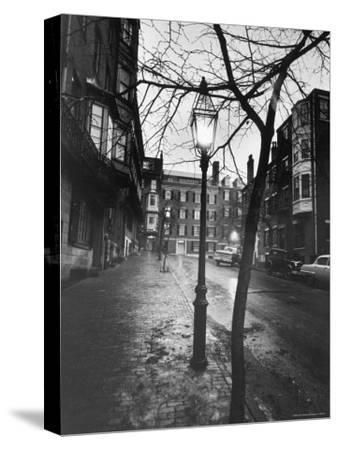 Rainy Beacon Hill St at Dusk During Series of Boston Stranglings-Art Rickerby-Stretched Canvas Print