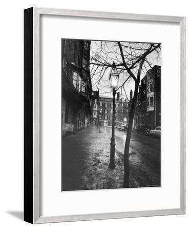 Rainy Beacon Hill St at Dusk During Series of Boston Stranglings-Art Rickerby-Framed Photographic Print