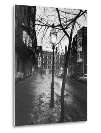 Rainy Beacon Hill St at Dusk During Series of Boston Stranglings-Art Rickerby-Metal Print