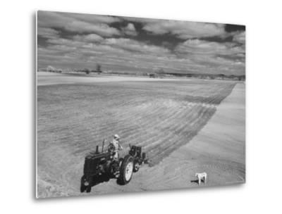 Spring Plowing in de Soto Kansas-Francis Miller-Metal Print