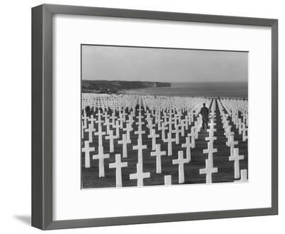 US Army Cemetery at Omaha Beach-Leonard Mccombe-Framed Photographic Print