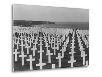 US Army Cemetery at Omaha Beach-Leonard Mccombe-Metal Print