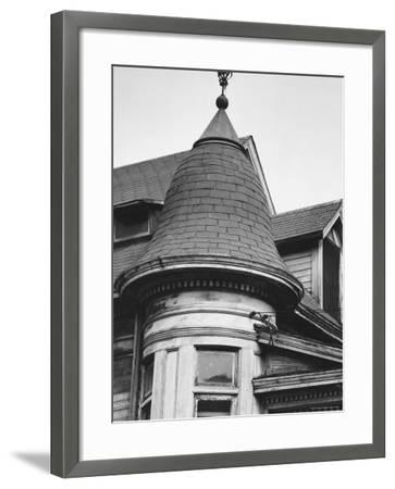Turret and Roof of House on Bunker Hill Section of Los Angeles-Walker Evans-Framed Photographic Print