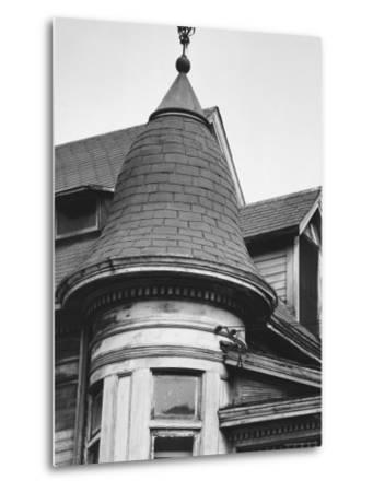 Turret and Roof of House on Bunker Hill Section of Los Angeles-Walker Evans-Metal Print