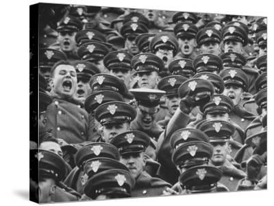 West Point Cadets Cheering During Army vs. Notre Dame Game-Francis Miller-Stretched Canvas Print