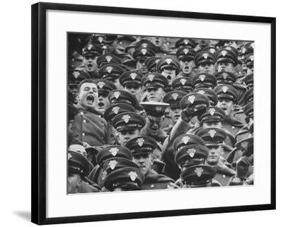 West Point Cadets Cheering During Army vs. Notre Dame Game-Francis Miller-Framed Photographic Print