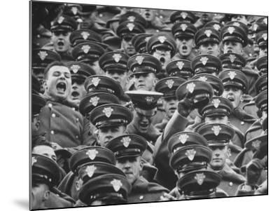 West Point Cadets Cheering During Army vs. Notre Dame Game-Francis Miller-Mounted Photographic Print