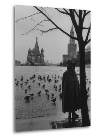 View Across Red Square of St. Basil's Cathedral and the Kremlin-Howard Sochurek-Metal Print