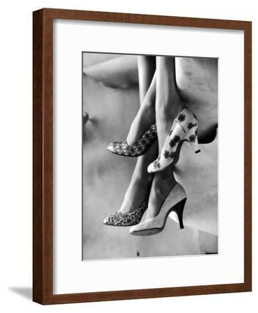 Models Displaying Printed Leather Shoes-Gordon Parks-Framed Photographic Print