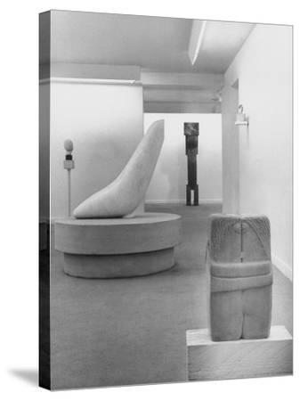 Sculptures by Brancusi on Exhibit at the Guggenheim Museum-Nina Leen-Stretched Canvas Print