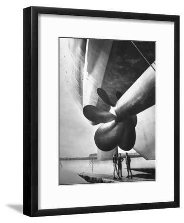 Twin Screw Propeller of New Cunard Liner 'Queen Elizabeth Ii'-Terence Spencer-Framed Photographic Print