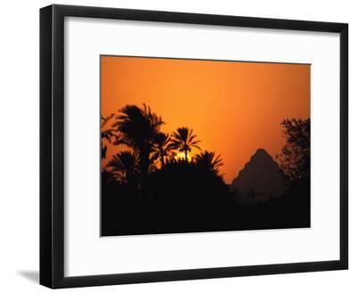 The Step Pyramid of Djoser Silhouetted by the Setting Sun-Kenneth Garrett-Framed Photographic Print