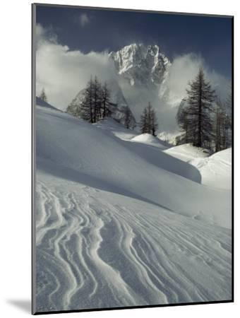 Mount Blanc Partially Obscured by Clouds in Snowy Landscape-Gordon Wiltsie-Mounted Photographic Print