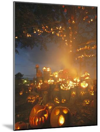 Grinning Lit Jack-O-Lanterns Surrounding and Filling a Tree-Richard Nowitz-Mounted Photographic Print