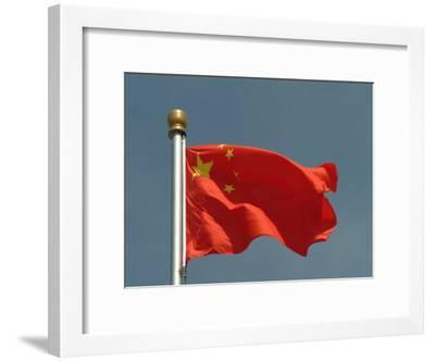 The Chinese National Flag Waves Above Tiananmen Square-Richard Nowitz-Framed Photographic Print