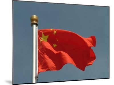 The Chinese National Flag Waves Above Tiananmen Square-Richard Nowitz-Mounted Photographic Print