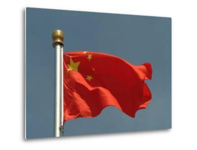 The Chinese National Flag Waves Above Tiananmen Square-Richard Nowitz-Metal Print