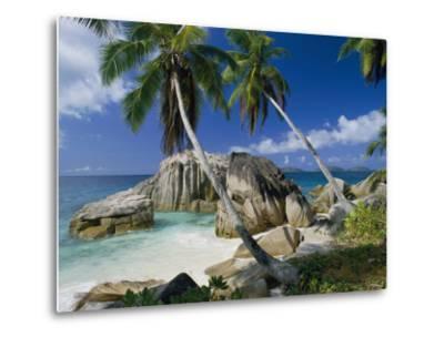 A Beach and Palm Trees on La Digue Island-Bill Curtsinger-Metal Print