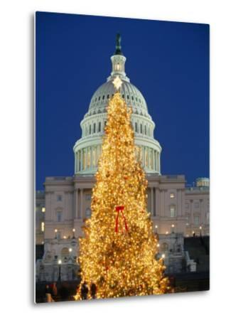 View of the National Christmas Tree Standing Before the Capitol-Richard Nowitz-Metal Print