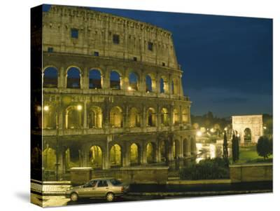 Romes Colosseum Illuminated at Night-Richard Nowitz-Stretched Canvas Print