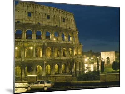 Romes Colosseum Illuminated at Night-Richard Nowitz-Mounted Photographic Print