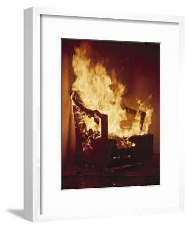 A Chair Set on Fire During a Flamability Test-Richard Nowitz-Framed Photographic Print