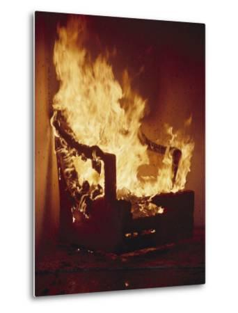 A Chair Set on Fire During a Flamability Test-Richard Nowitz-Metal Print