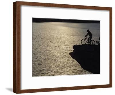 A Man Takes in the View from Above Mcphee Reservoir-Bill Hatcher-Framed Photographic Print