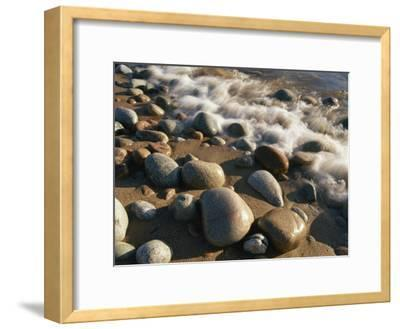Water Washes up on Smooth Stones Lining a Beach-Michael S^ Lewis-Framed Photographic Print