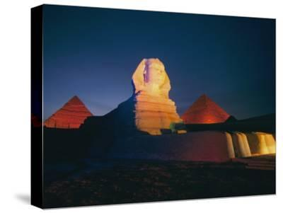 A Night View of the Great Sphinx and the Pyramids of Giza-Richard Nowitz-Stretched Canvas Print