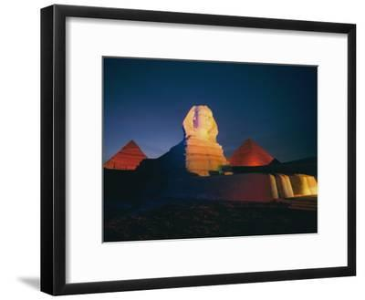 A Night View of the Great Sphinx and the Pyramids of Giza-Richard Nowitz-Framed Photographic Print