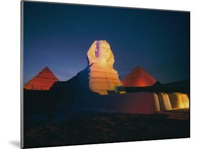 A Night View of the Great Sphinx and the Pyramids of Giza-Richard Nowitz-Mounted Photographic Print
