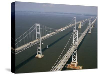 An Aerial View of the Chesapeake Bay Bridge-Richard Nowitz-Stretched Canvas Print