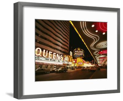 View of Downtown Las Vegas at Night-Walter Meayers Edwards-Framed Photographic Print