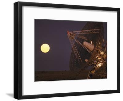 The Full Moon Rises Near a Satellite Dish-Joe Scherschel-Framed Photographic Print